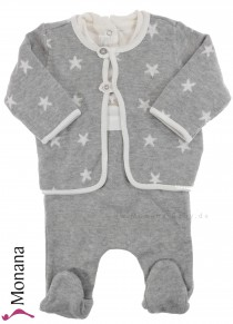 Mayoral Baby-Strampler-Set Strick-Overall & cardigan gray