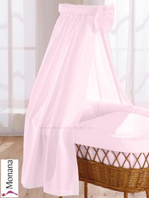 Leipold fabric veil for wicker crib in Wendy pink