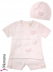 Emile et pink two-pieces knitted suit pink with t-shirt, shorts & hat