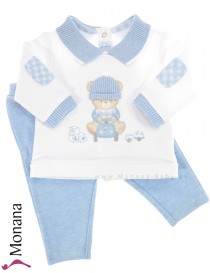 Mayoral baby set shirt and trousers Teddy light blue