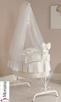 Picci iron cradle Queen white Coco cream Swarovski Elements fully garnished without bed linen