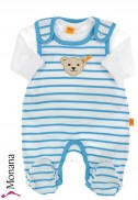 Steiff Collection Baby-Strampler & Baby-Shirt  Summer Colors blau<br>Größe: 74