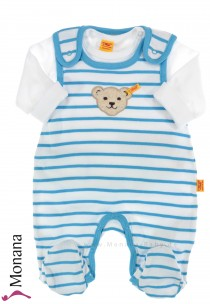 Steiff Collection Baby-Strampler & Baby-Shirt  Summer Colors blau<br>Größe: 68, 74, 80