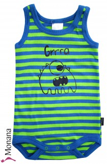 Schiesser baby body without sleeves Monster blue-neon green