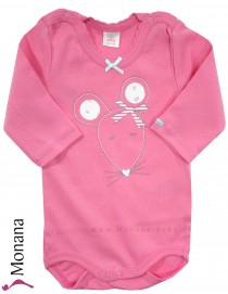 Kanz long sleeve baby body Maus pink