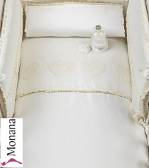 Picci bed linen for cot bed Mod. 15 Flora cream <b>Ready for delivery