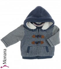 Mayoral knit baby jacket jeansblau with teddy lining