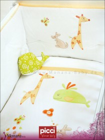 Picci bedding set Mod. 14 Ginger orange*** fabric veil, bed linen and bumper <b>Ready for delivery