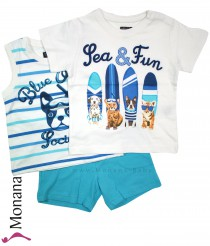 Mayoral three-pieces child fashion set t-shirt, t-shirt without sleeves & bermuda