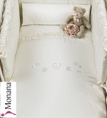 Picci bed linen for cot bed Mod. 17 Flora cream <b>Ready for delivery