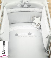 Dilibest by Picci bedding set Mod. 15 Matisse greige fabric veil, bed linen and bumper <b>Ready for delivery