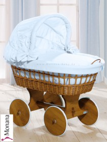Leipold wicker drape crib with hood and big wheels natural in Wendy bleu