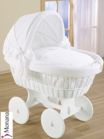 Leipold wicker drape crib with hood and big wheels white in Dreamland Schleife (Color: white) <b>Ready for delivery
