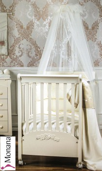 Picci bedding set Mod. 15 Flora cream tulle veil, bed linen, bumper and stand