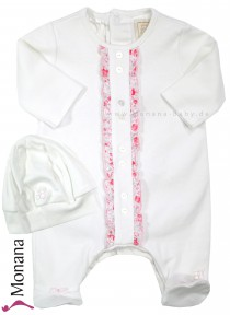Emile et pink Overall white with new born hat