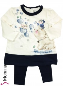 Mayoral Kindermode-Set Kleid & Leggings Pinguine<br>Größe: 80, 86