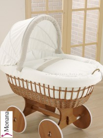 Leipold draping for wicker crib with hood in Amadeus Bär (Color: white / beigebraun) Delivery without bed linen <b>Ready for delivery