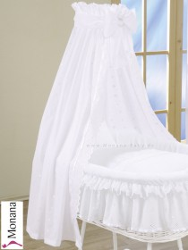 Leipold fabric veil for wicker crib in Damaris white