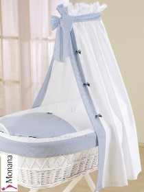 Leipold fabric veil for wicker crib in Classic