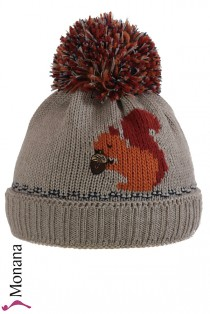 Maximo Kindermütze light brown with Bommel and squirrel