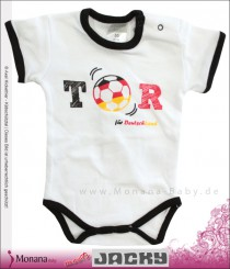 Jacky short sleeve baby body white with saying Tor for Deutschland
