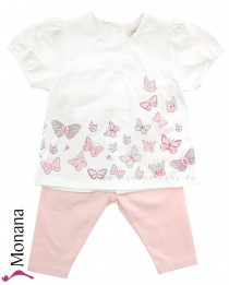 Emile et pink Babyset butterfly with t-shirt & trousers pink