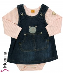 Steiff Collection Jeans-Kleid & Langarm-Body Little Bear Girls rosa<br>Größe: 62