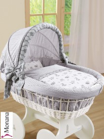 Leipold draping for wicker crib with hood in Paolo gray Delivery without bed linen <b>Ready for delivery