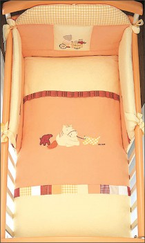 Picci bed linen for cot bed Mod. 11 Lampo orange*** <b>Ready for delivery