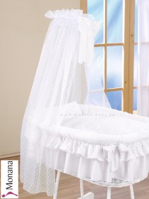 Leipold fabric veil for wicker crib in Candy white