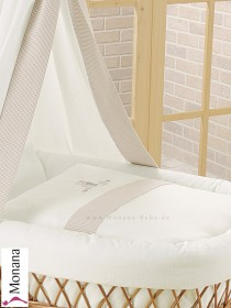Leipold bed linen in Amadeus Bär (Color: white / beigebraun) 80 x 80 cm & 35 x 40 cm <b>Ready for delivery