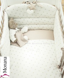 Dilibest by Picci bedding set Mod. 12 Matisse cream fabric veil, bed linen and bumper <b>Ready for delivery