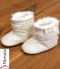 Mayoral Baby-Stiefel cream with Schleifchen and goldenem Glitzer