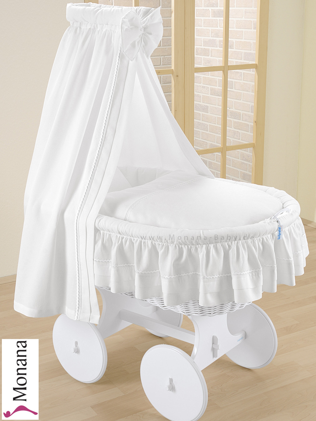 Leipold crib for sale - 00 946 Wlow Leipold Bollerwagen Himmel Lollipop Weiss 2016 Leipold Wicker Drape Crib With Veil And