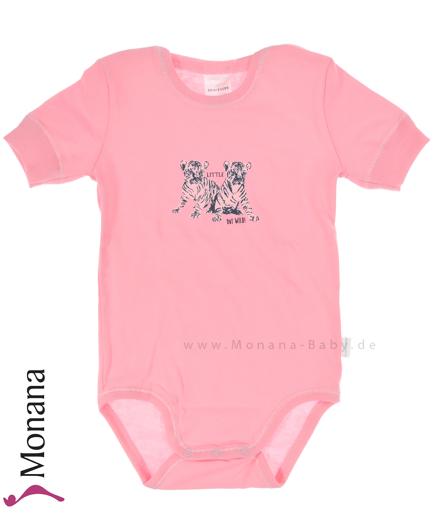 Schiesser Kurzarm-Baby-Body rosa Little but Wild<br>Größe: 74, 80, 86, 92, 98, 104