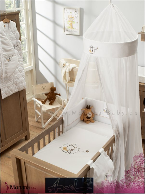 anel bett set mit deckenhimmel lovely birds taupe voile. Black Bedroom Furniture Sets. Home Design Ideas