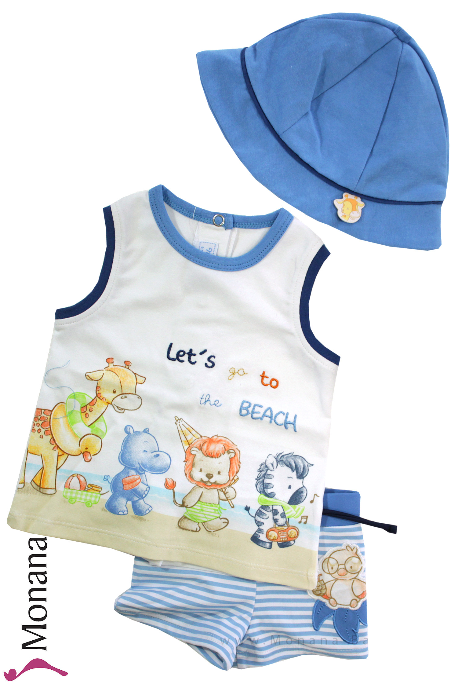 Mayoral Bade-Set mit Badehose, T-Shirt & Baby-Hut Lets go to the Beach<br>Größe: 62, 74