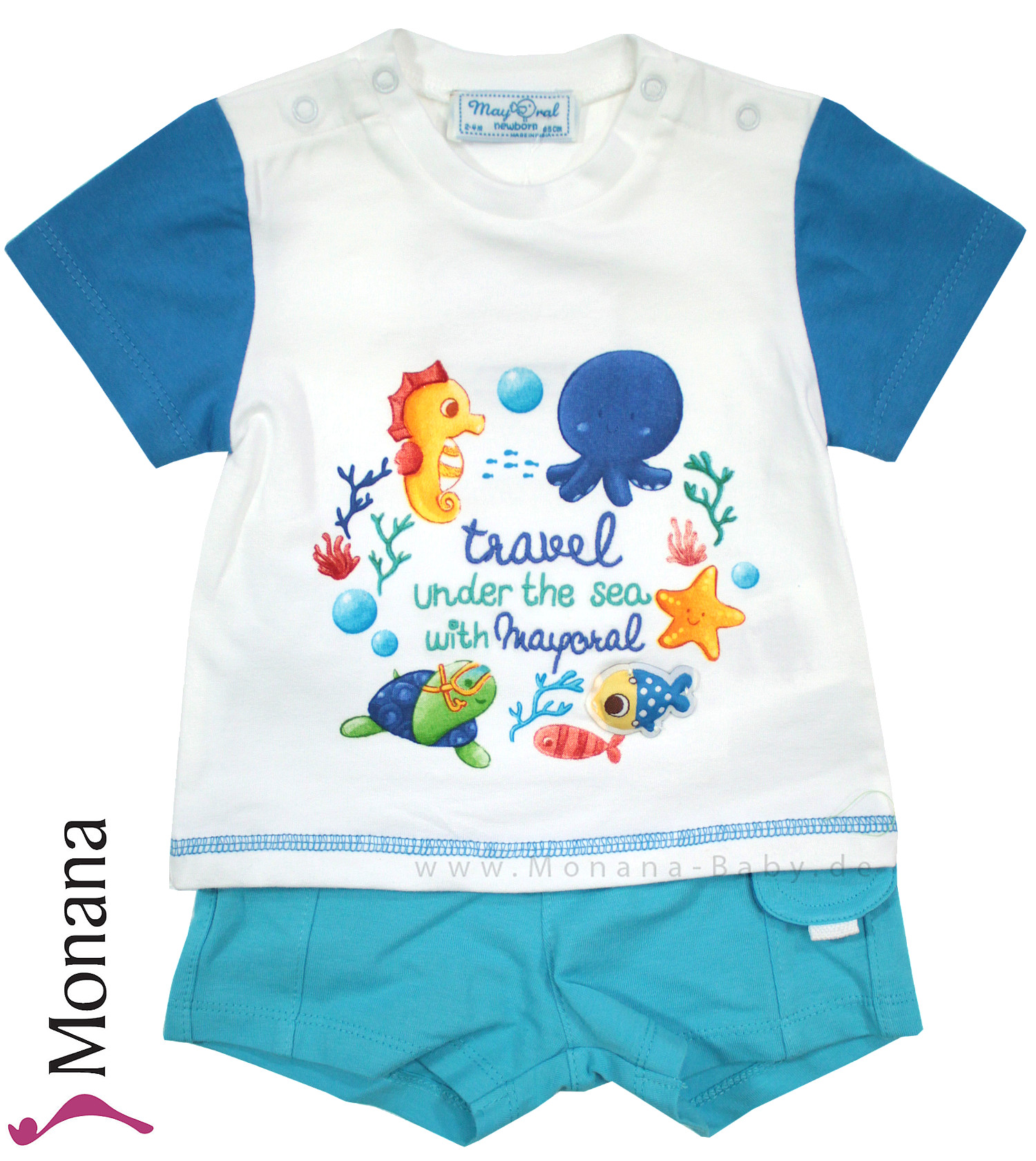 Mayoral Baby-Set T-Shirt & Bermudas travel under the sey with Mayoral<br>Größe: 74, 80
