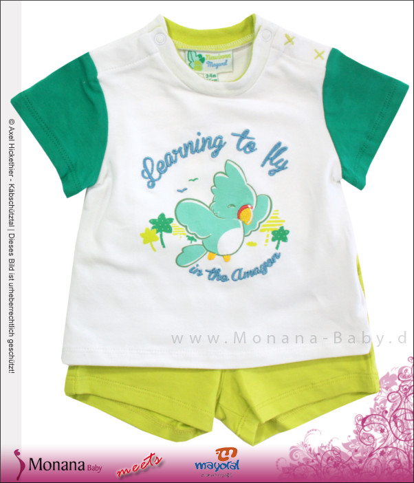 Mayoral Baby-Set T-Shirt & Bermudas Learning to fly<br>Größe: 62, 68, 74