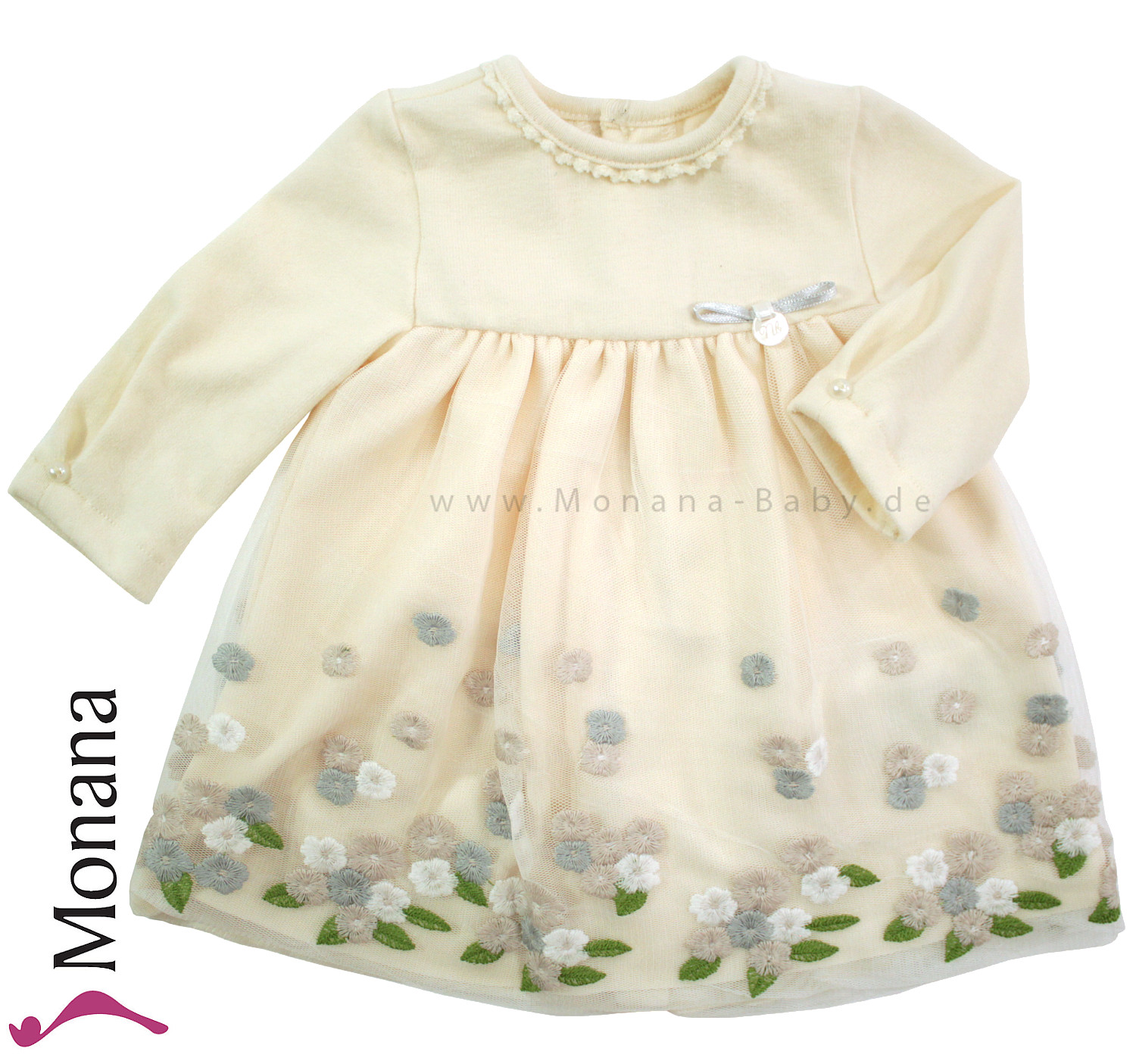 big sale b1df1 d5e4b Mayoral Baby-Strickkleid mit Tüll cremeweiß<br