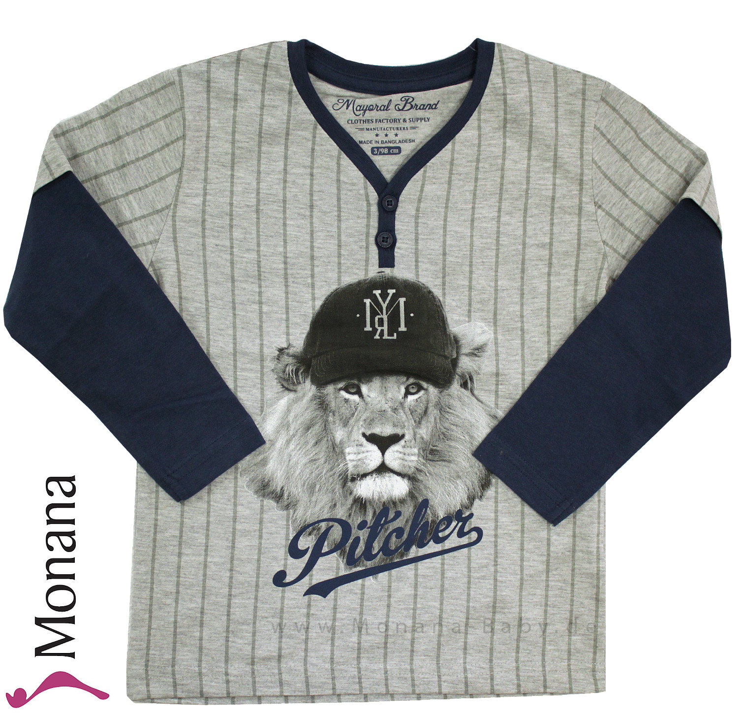 Mayoral Shirt Baseball-Lion<br>Größe: 98, 116, 134
