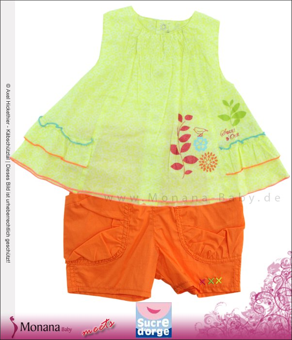 Sucre d´orge Kindermode-Set Tunika und Shorts orange<br>Größe: 74, 80