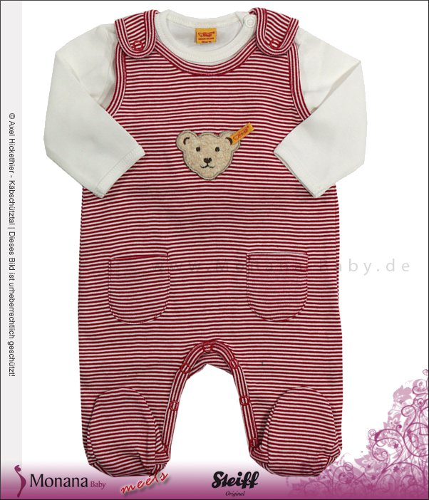 Steiff Collection Baby-Strampler rot & Baby-Shirt<br>Größe: 62