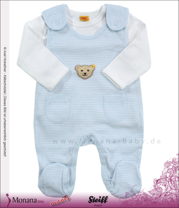 Steiff Collection Baby-Strampler & Baby-Shirt hellblau<br>Größe: 62