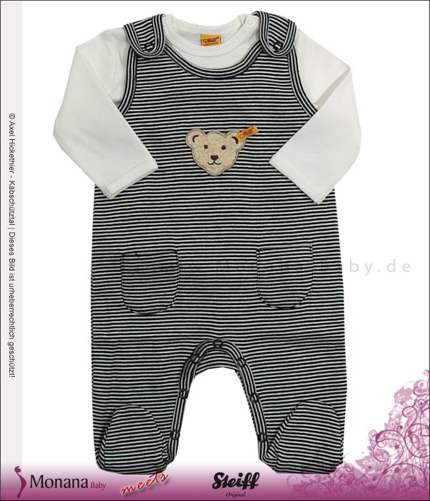 Steiff Collection Baby-Strampler marine & Shirt<br>Größe: 50