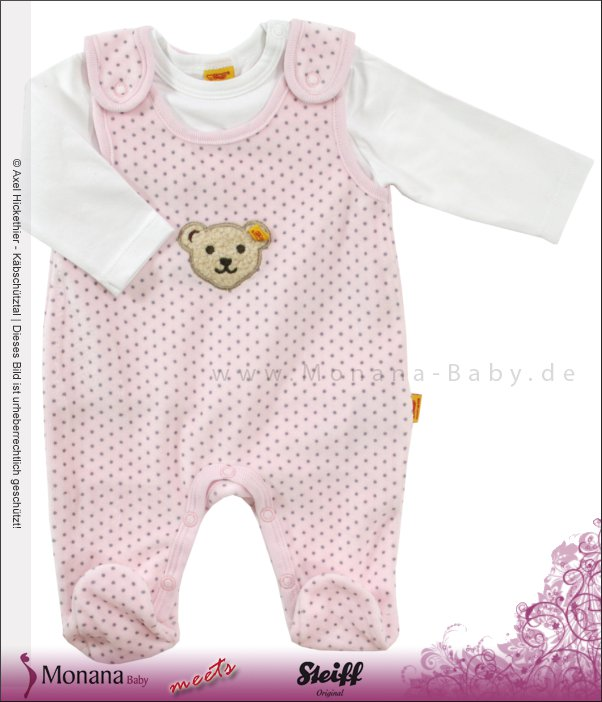 Steiff Collection Nicki-Strampler & Shirt rosa Little Friends<br>Größe: 62