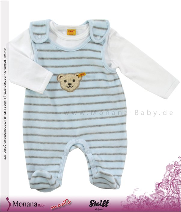 Steiff Collection Nicki-Strampler & Shirt Ringel hellblau Little Friends<br>Größe: 62
