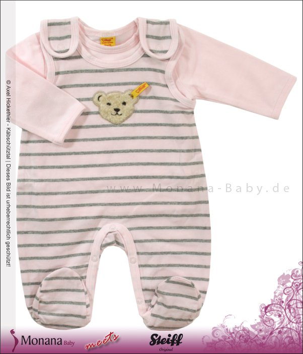 Steiff Collection Baby-Strampler & Shirt rosa<br>Größe: 62