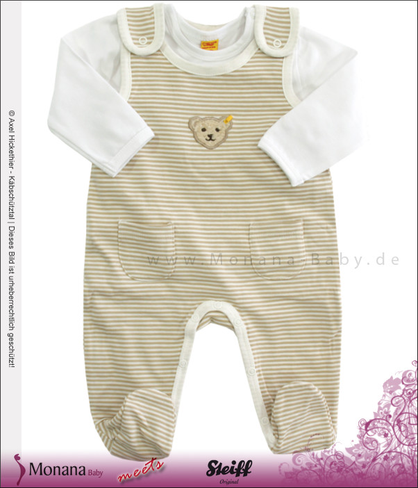 Steiff Collection Baby-Strampler beige & Baby-Shirt Little Blue<br>Größe: 62