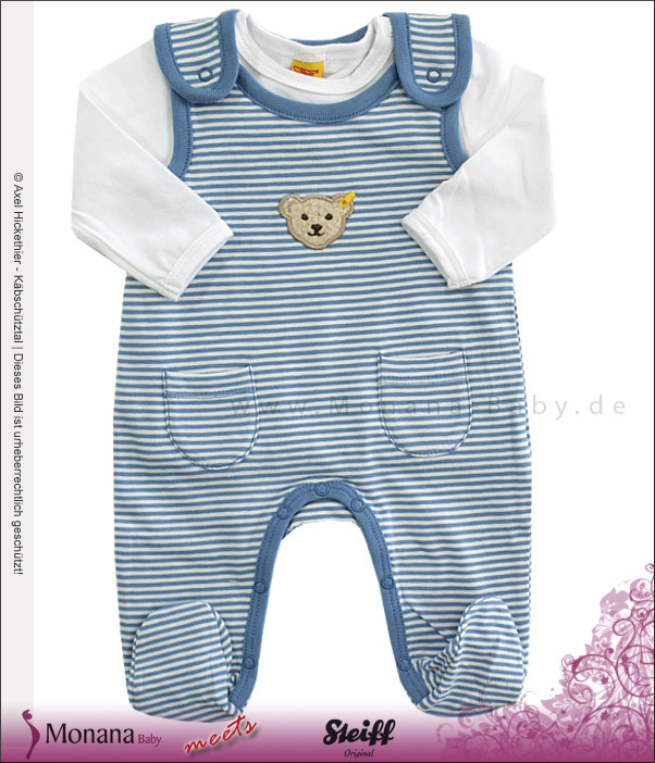 Steiff Collection Baby-Strampler blau & Baby-Shirt Little Blue<br>Größe: 68